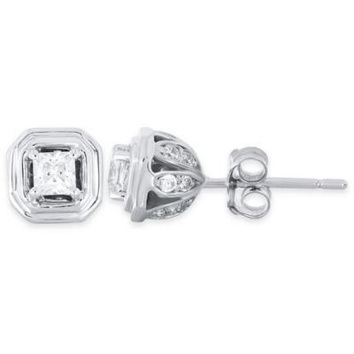 10K White Gold .25 cttw Princess-Cut Diamond Petal Stud Earrings