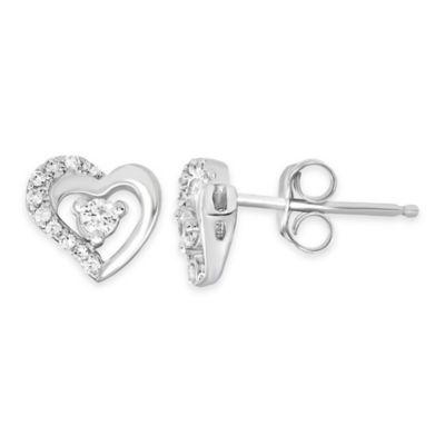 Sterling Silver .14 cttw Diamond Open Heart Stud Earrings