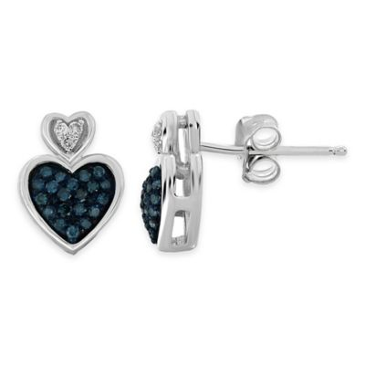 Sterling Silver .20 cttw White and Blue Diamond Double Heart Stud Earrings