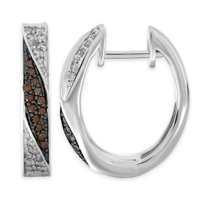 Sterling Silver .50 cttw White and Cognac Diamond Twist Hoop Earrings