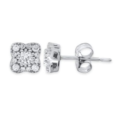 14K White Gold .33 cttw Diamond Cluster Flower Post Earrings