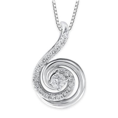 14K White Gold .33 cttw Diamond 18-Inch Chain Swirl Pendant Necklace