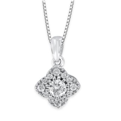 14K White Gold .33 cttw Diamond Cluster Flower 18-Inch Chain Pendant Necklace