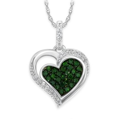 10K White Gold .35 cttw Green and White Pave Diamond 18-Inch Chain Concave Heart Pendant Necklace