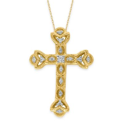 10K Yellow Gold .15 cttw Diamond 18-Inch Chain Ornate Cross Pendant Necklace