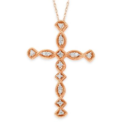 10K Rose Gold .15 cttw Diamond Miligrain Geometric 18-Inch Chain Cross Pendant Necklace