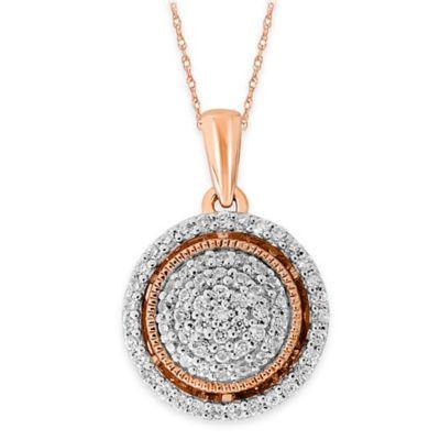 10K Rose Gold .34 cttw Diamond 18-Inch Chain Milgrain Accent Round Halo Pendant Necklace