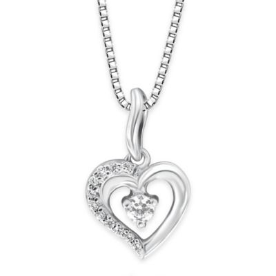 Sterling Silver .11 cttw Diamond 18-Inch Chain Petite Open Heart Pendant Necklace