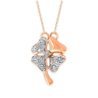 10K Rose Gold .09 cttw Diamond 18-Inch Chain Mini Four Leaf Clover Pendant Necklace