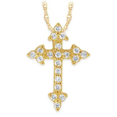 10K Yellow Gold .10 cttw Diamond 18-Inch Chain Mini Pointed Cross Pendant Necklace