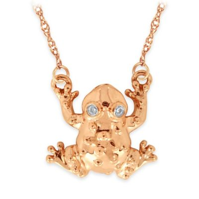 10K Rose Gold .02 cttw Diamond 18-Inch Chain Mini Frog Pendant Necklace