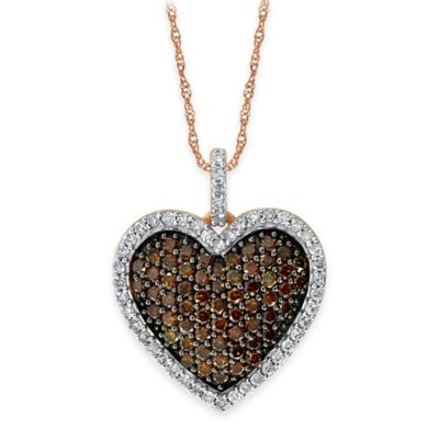 10K Rose Gold .75 cttw Cognac and White Diamond 18-Inch Chain Pave Heart Pendant Necklace