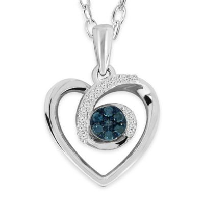 Sterling Silver .10 cttw Blue and White Diamond 18-Inch Chain Center Cluster Heart Pendant Necklace