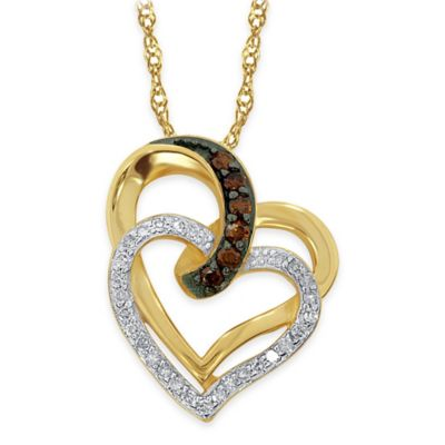 10K Yellow Gold .20 cttw Cognac and White Diamond Heart Duo Pendant Necklace