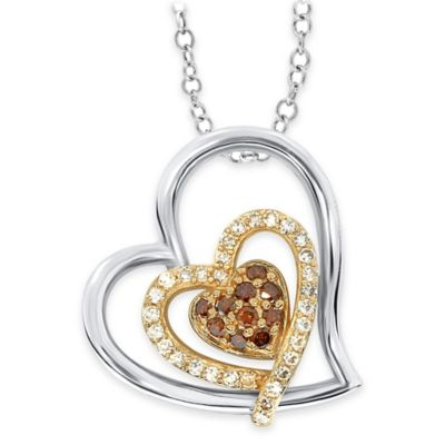 Sterling Silver and 10K Yellow Gold .25 cttw Cognac and White Diamond Double Heart Pendant Necklace