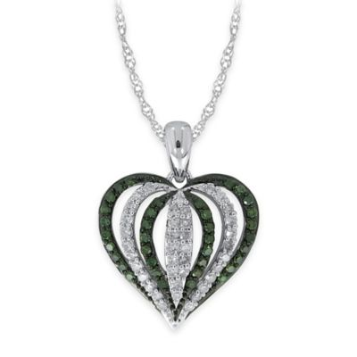 10K White Gold .50 cttw Green and White Diamond 18-Inch Chain Vertical Domed Heart Pendant Necklace