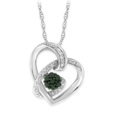 10K White Gold .25 cttw Green and White Diamond 18-Inch Chain Cluster Heart Pendant