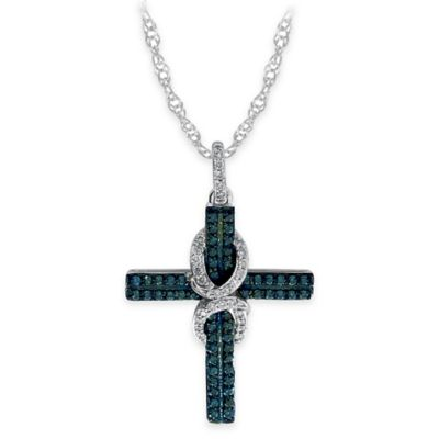 10K White Gold .50 cttw Blue and White Diamond 18-Inch Chain Draped Cross Pendant Necklace