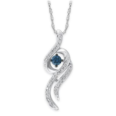 10K White Gold .34 cttw Blue and White Diamond 18-Inch Chain Ribbon Swirl Pendant Necklace