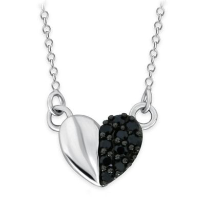 10K White Gold .13 cttw Black Diamond 18-Inch Chain Mini Half Pave Polished Heart Pendant Necklace