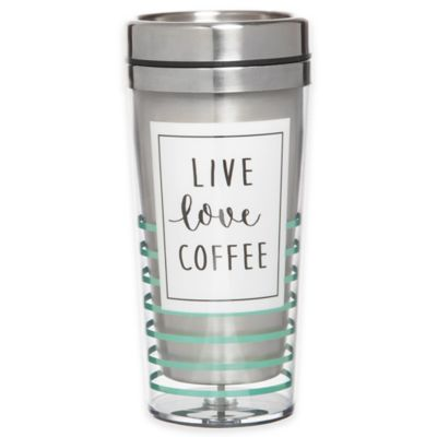 """Live, Love, Coffee"" 14 oz. Stainless Steel/Acrylic Travel Tumbler"