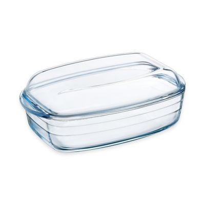 Arcuisine Borosilicate 4.75 qt. Rectangular Roaster with Lid