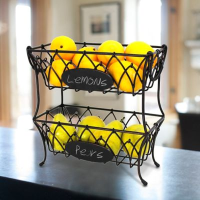 Mesa Mystic Iron 2-Tier Basket with Chalkboard in Antique Black