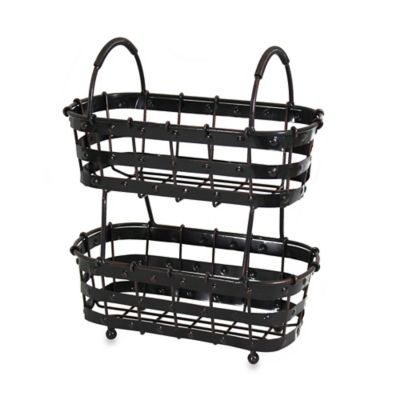 Mesa Old Country Iron 2-Tier Basket in Antique Black