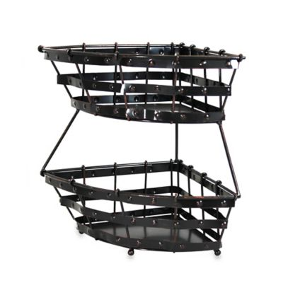 Mesa Old Country Iron 2-Tier Corner Basket in Antique Black