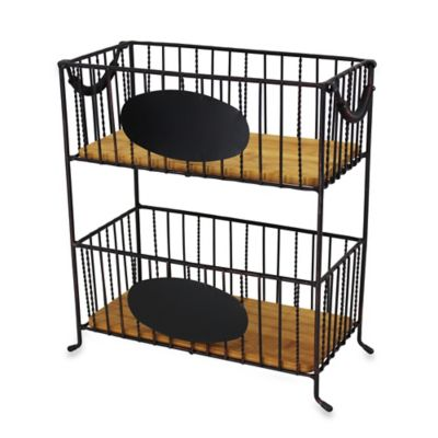 Mesa 2-Tier Rectangular Iron Basket with Chalkboard Panel in Antique Black