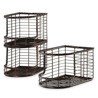 Mesa French Loop Collection Stacking Storage Basket (Set of 3)