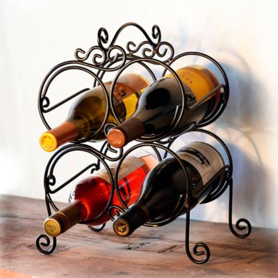 Mesa Waterline 4-Bottle Wine Rack in Antique Black