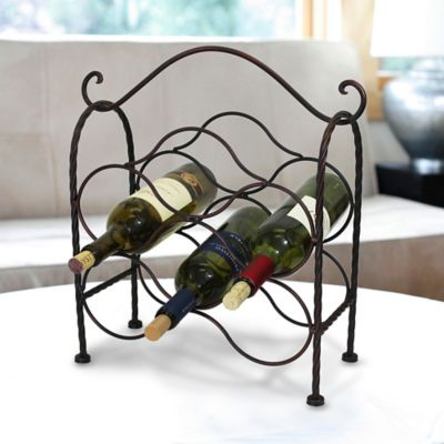 Mesa Waterline 6-Bottle Wine Rack in Antique Black