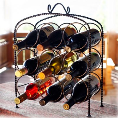 Mesa Weave 9-Bottle Wine Rack in Antique Black