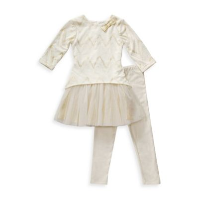 Kahn Lucas Size 9M 2-Piece Chevron and Tulle Mini Dress with Legging Set in White/Gold
