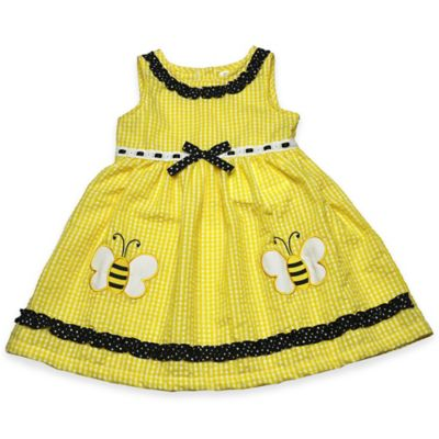 Samara Bee Applique Seersucker Dress in Yellow/Black