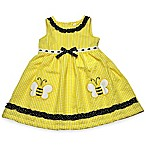 Samara Size 3-6M Bee Applique Seersucker Dress and Diaper Cover Set in Yellow/Black