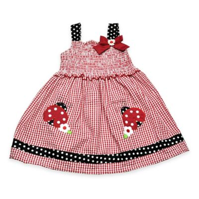 Samara Size 24M Ladybug Seersucker Dress in Red/Black