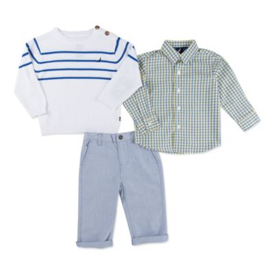 Nautica Kids® Size 0-3M 3-Piece Sweater, Shirt, and Pant Set in White/Grey