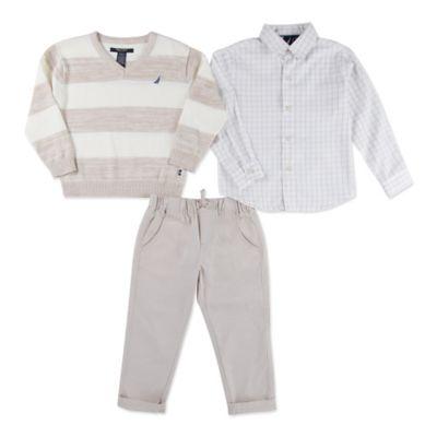 Nautica Kids® Size 0-3M 3-Piece V-Neck Sweater, Shirt, and Pant Set in White/Khaki