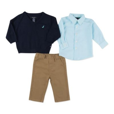 Nautica Kids® Size 3M 3-Piece Sweater, Shirt and Pant Set in Navy/Teal