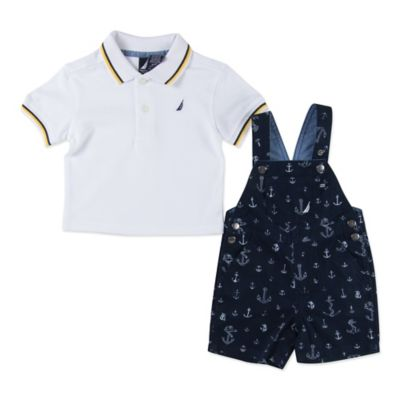 Nautica Kids® Size 3M 2-Piece Anchor Shortall and Polo Shirt Set in Navy/White