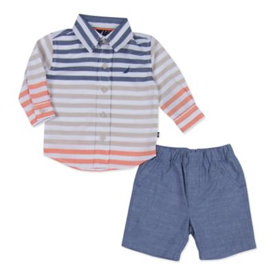 Nautica Kids® Size 3M 2-Piece Color Block Long-Sleeve Shirt and Short Set