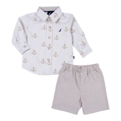Nautica Kids® Size 3M 2-Piece Anchor Long-Sleeve Shirt and Short Set in Cream
