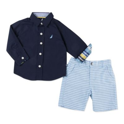 Nautica Kids® Size 12M 2-Piece Ottoman Stripe Shirt and Short Set in Blue/Yellow