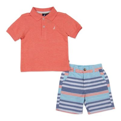 Nautica Kids® Size 4T 2-Piece Stripe Polo Shirt and Short Set in Coral
