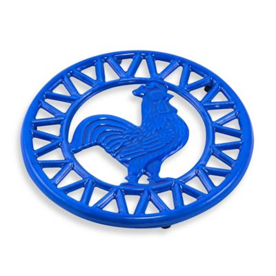 Old Dutch International Two-Tone Rooster Trivet in Blue