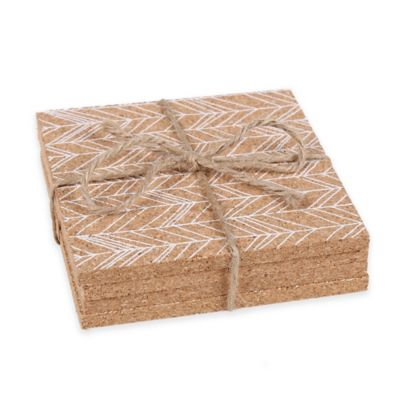 Thirstystone® Feathered Chevron Cork Coasters in White (Set of 4)