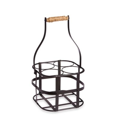 4-Bottle Metal Wine Holder in Black