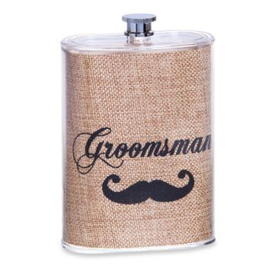"""Groomsman"" Mustache Flask"